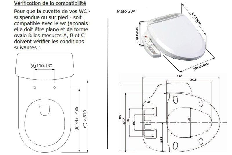 Dimensions French Maro20a Wcjaponaisbidet